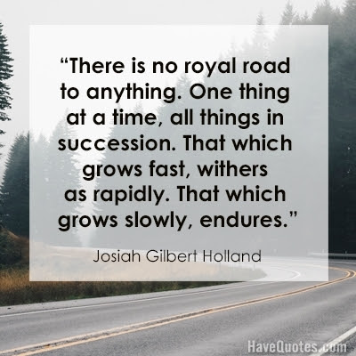 There Is No Royal Road To Anything One Thing At A Time All Things In
