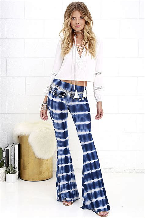 boho flare pants blue tie dye pants casual pants