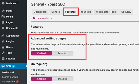 Enable advanced settings page for Yoast SEO