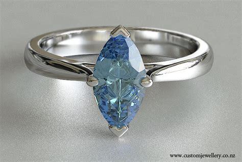 Marquise Solitaire Aquamarine Engagement Ring New Zealand