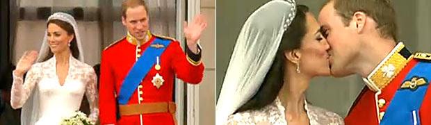 Kate e William dão o '1º beijo'; veja ao vivo (Reprodução)