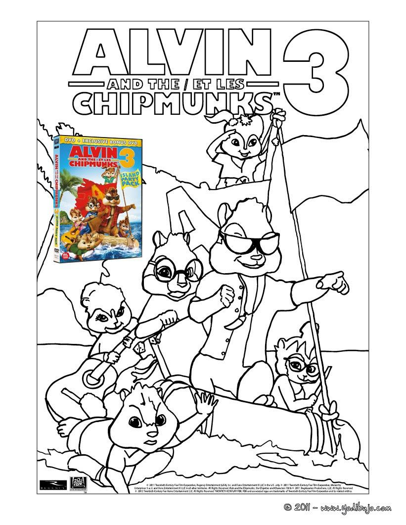 Alvin Et Les Chipmunks 3 Coloriage | Imprimer et Obtenir une Coloriage Gratuit Ici