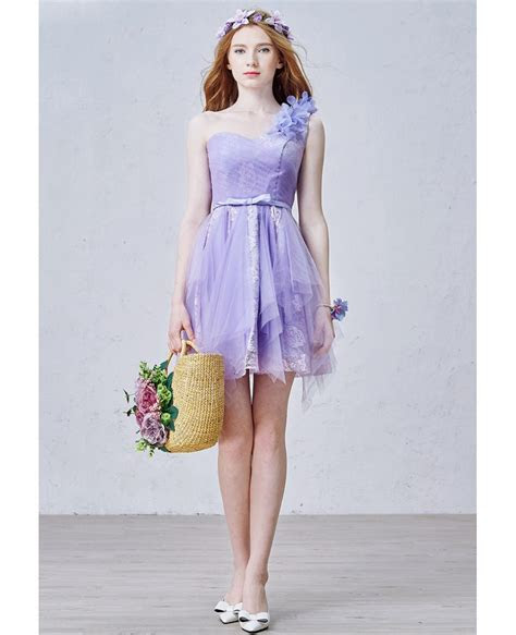 Romantic A Line One Shoulder Short Tulle Bridesmaid Dress