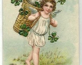 Vintage- ANGEL, SHAMROCKS, LUCK- Embossed Easter Colorful Postcard white & gold eggs, dress, green clovers, French written, Helvetia stamp, - FascinatingHobbies