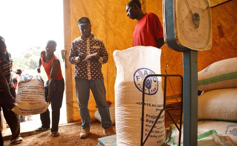Registro de sacos de maíz recibidos en Katutu, en la República Democrática del Congo.