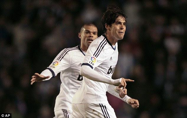Delight: Kaka celebrates his goal
