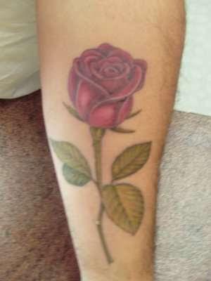 Realistic Long Stem Rose Tattoo