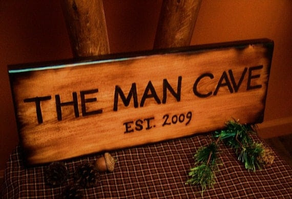 Rustic man Wood rustic Sign sign MAN Burned Style  CAVE Cabin OFG THE cave Bathroom  Log TEAM