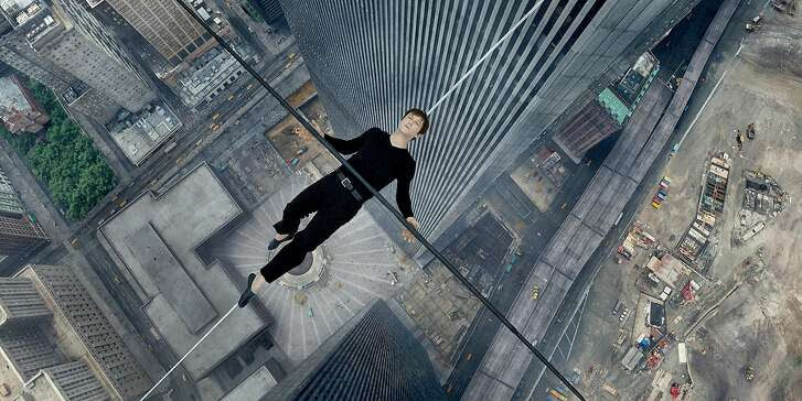 "Philippe Petite (Joseph Gordon-Levitt) in ""The Walk."""