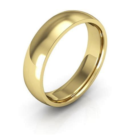 18K Yellow Gold men's and women's plain wedding bands 5mm