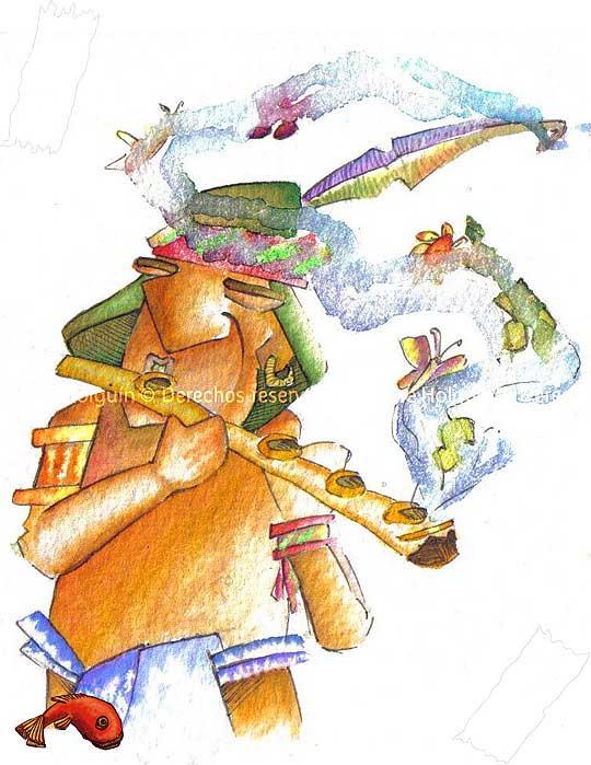 Sala muisca, ilustración de Hache Holguín