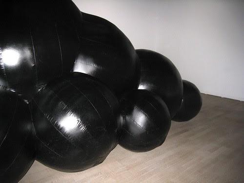 Black spheres installation