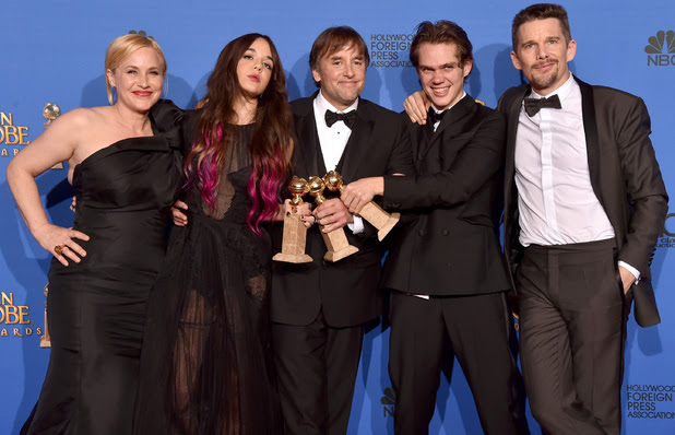 Boyhood's Patricia Arquette and Lorelei Linklater, Richard Linklater, Ellar Coltrane and Ethan Hawke at the 2015 Golden Globes