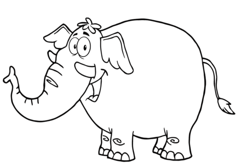 Happy Cartoon Elephant coloring page | Free Printable ...