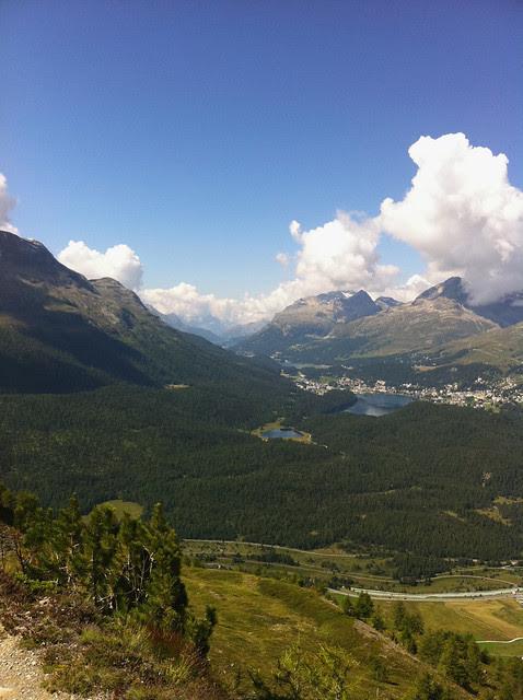 Blick von Muottas Muragl nach St. Moritz, Sils, Maloja