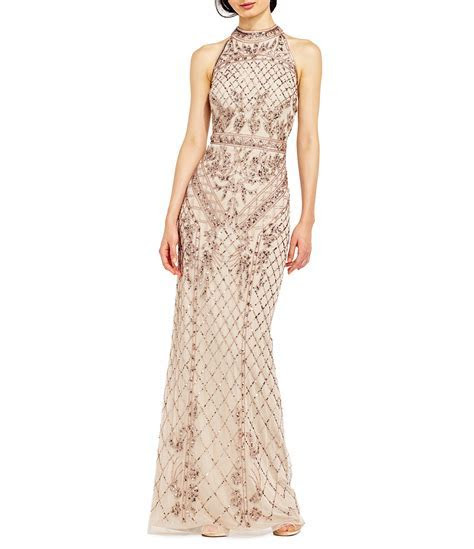 Adrianna Papell Halter Beaded Column Gown   Dillards