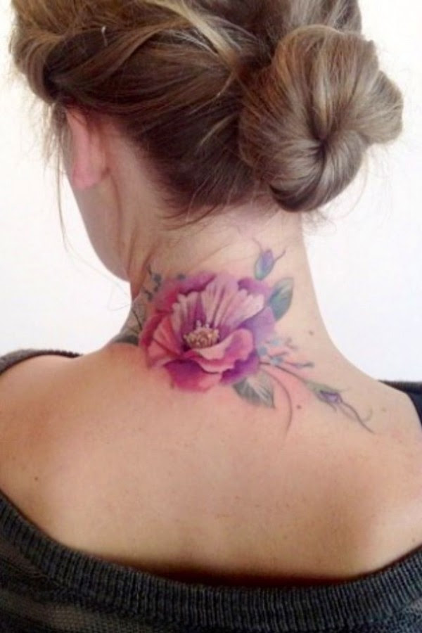 Womens Neck Flower Tattoo Tattoomagz