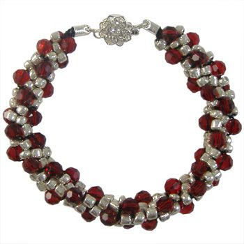 Silver & Red Beaded Kumihimo Bracelet