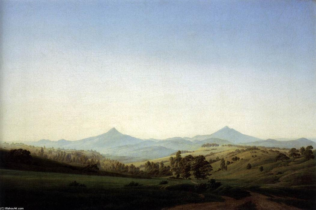 Bohemia paisaje con el Monte Milleschauer (2), óleo sobre lienzo de Caspar David Friedrich (1774-1840, Germany)