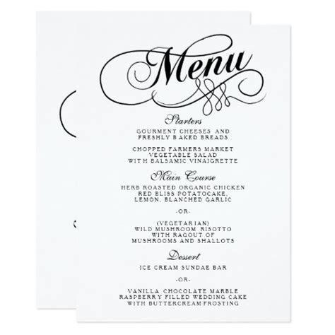 Elegant Black And White Wedding Menu Templates Card   Zazzle