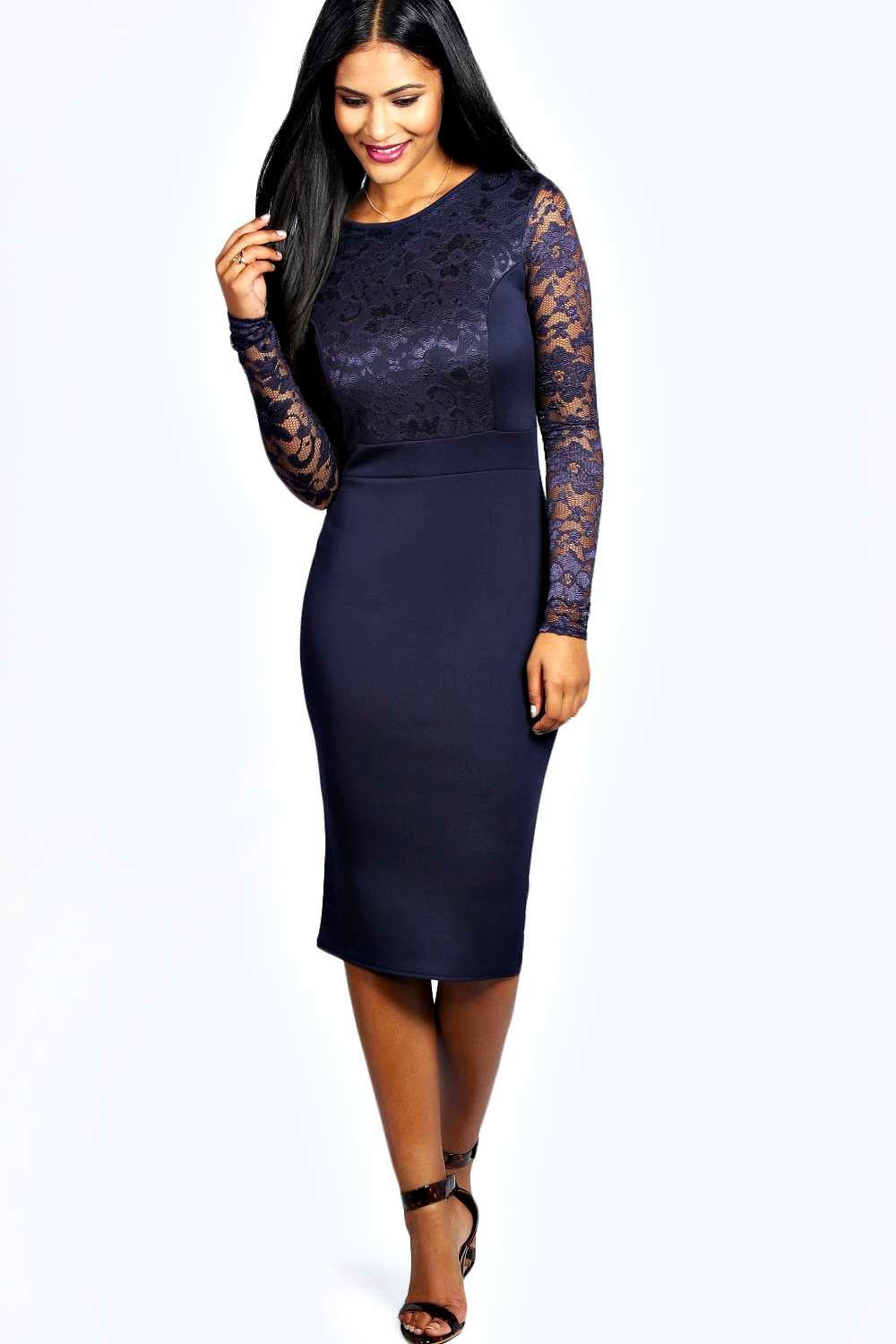Lace bodycon dress with sleeves
