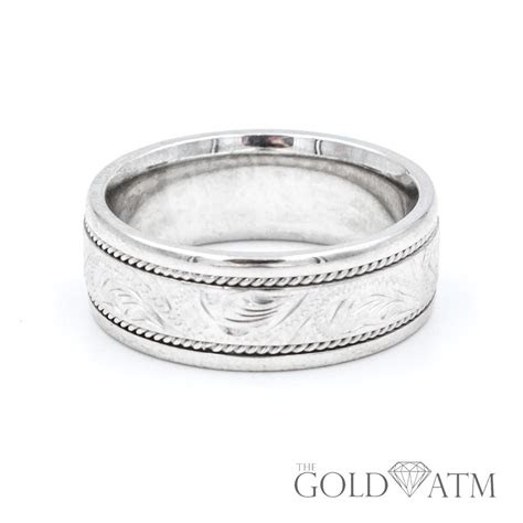 white gold custom engraved mens wedding band