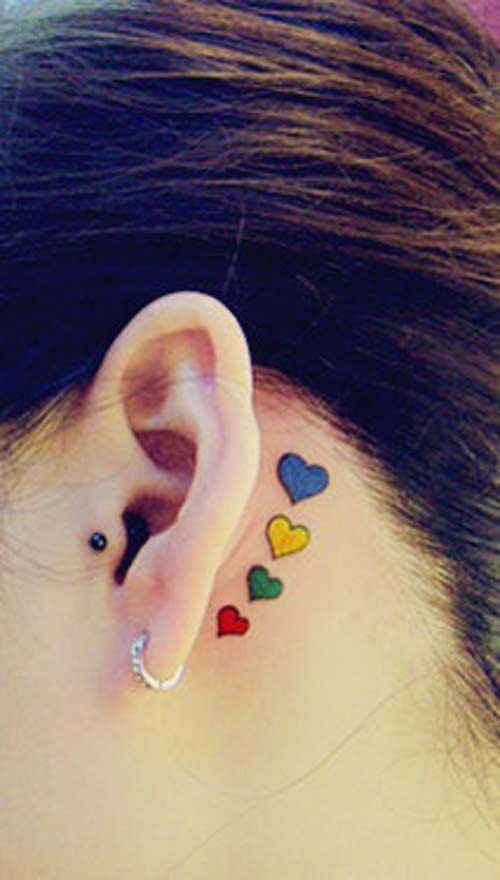 Colored Heart Tattoos Behind Ear
