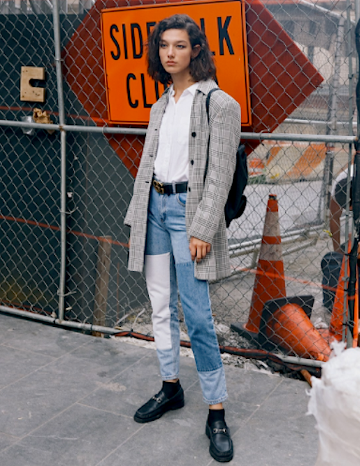 Le Fashion Blog NYFW Streetstyle Model Plaid Blazer Patchwork Jeans Black Leather Loafers Via Vogue