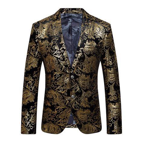gold blazer men floral casual slim blazers