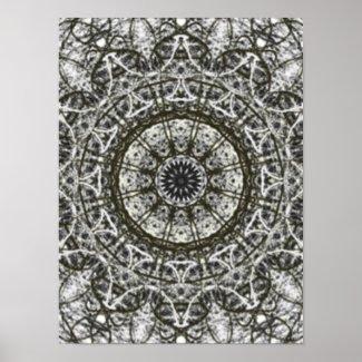 black white kaleidoscope pattern poster