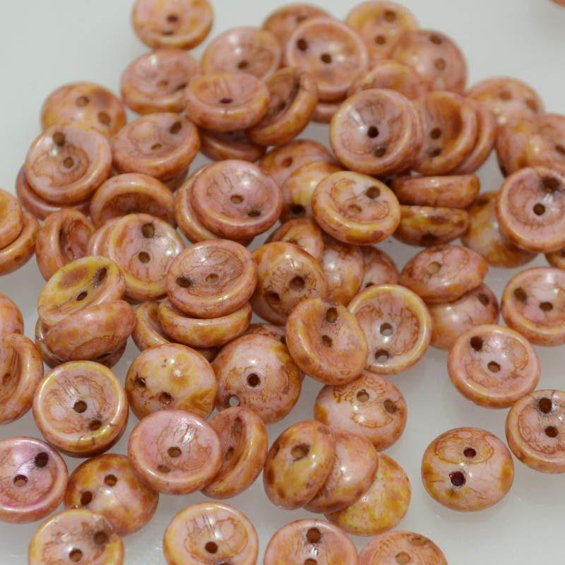 27800962-01 Pressed Glass - 8 mm Piggy Beads - Alabaster Pink Travertine (25)