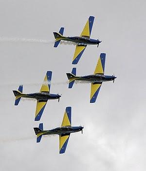 Aerobatics in the Tucano during practice at RI...