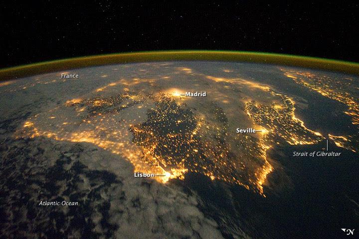 españa noche, portugal noche, contaminacion luminica