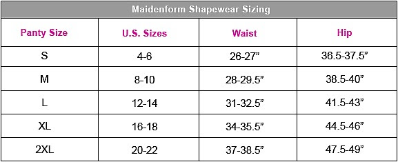 Maidenform Panties Size Guide