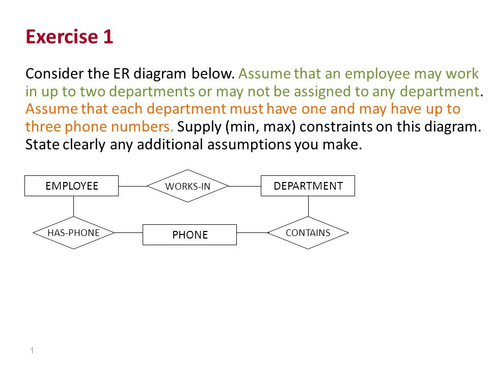 Exercise 1 Consider The Er Diagram Below Assume That An Employee May Work In Up To Two Departments Or May Not Be Assigned To Any Department Assume That Ppt Video Online Download