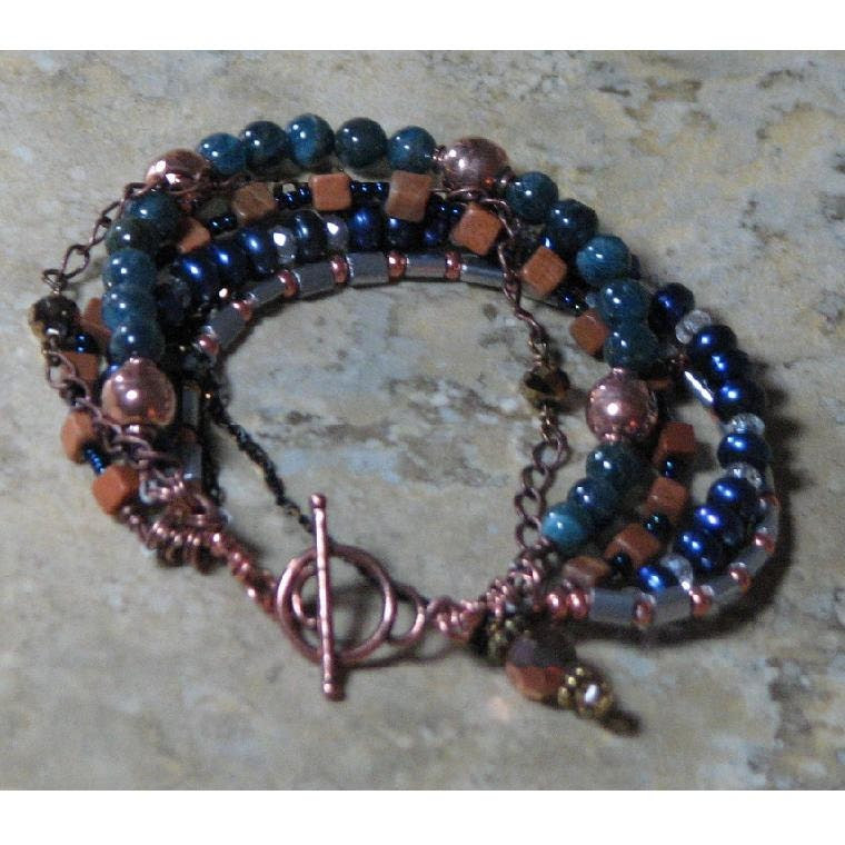 Beaded Copper and Stone Bracelet