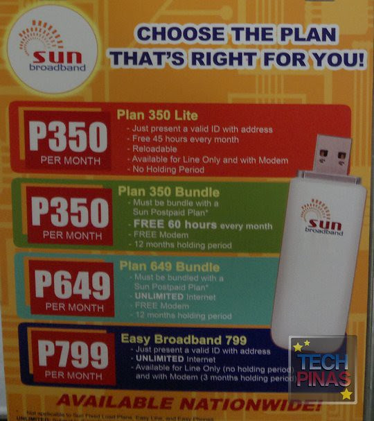 sun broadband postpaid