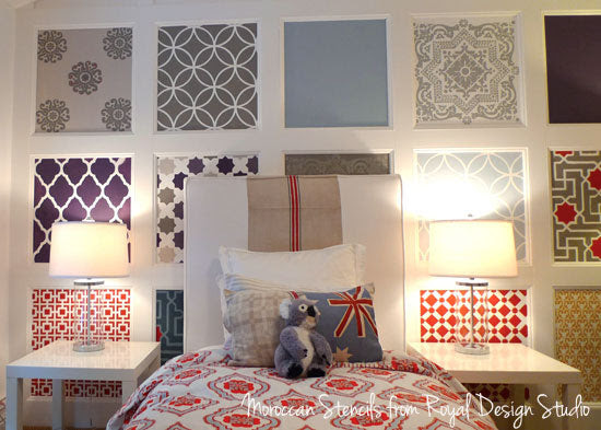 Board And Batten Feature Wall With Moroccan Stencil Flair Royal