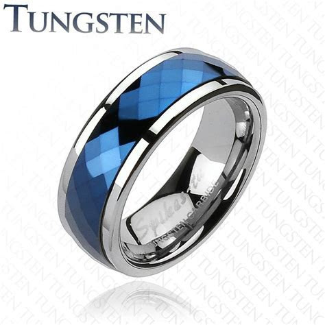 Tungsten Carbide Blue IP Multi Faceted Prism Cut Spinner