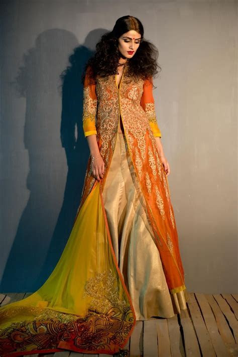 Front Open Long Jacket with Gold Lehenga   Wedding Wear