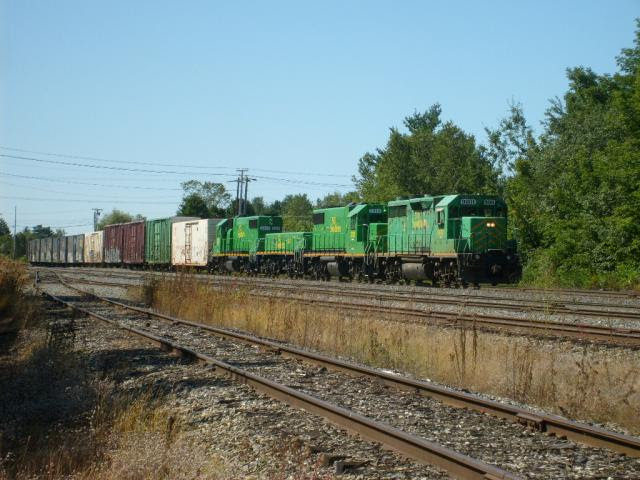 NB Southern Railway 9801 West in Mattawamkeag, Maine.
