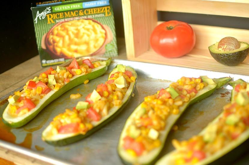 Southwest Mac Cheeze Stuffed Zucchini Boats Vegan Gluten Free