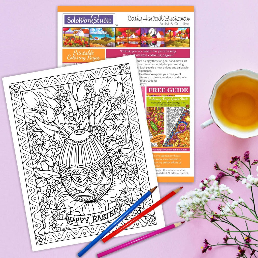 Happy Easter Flower Bouquet Coloring Page Pdf Instant Download Soloworkstudio