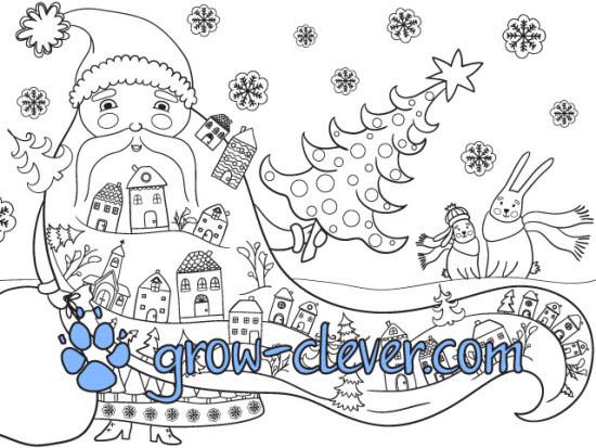 большая гигантская мега раскраска к новому году, дед мороз, ёлки, мешок с подарками