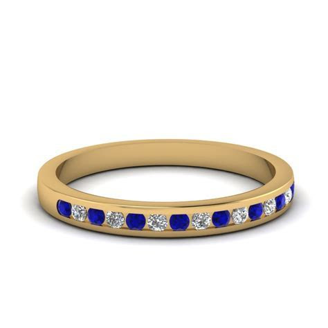 Round Channel Set Diamond Wedding Band With Sapphire In