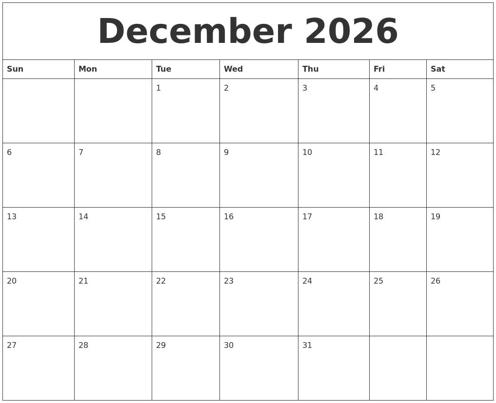 december 2026 printable calendars free