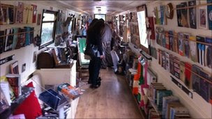 Inside the Book Barge
