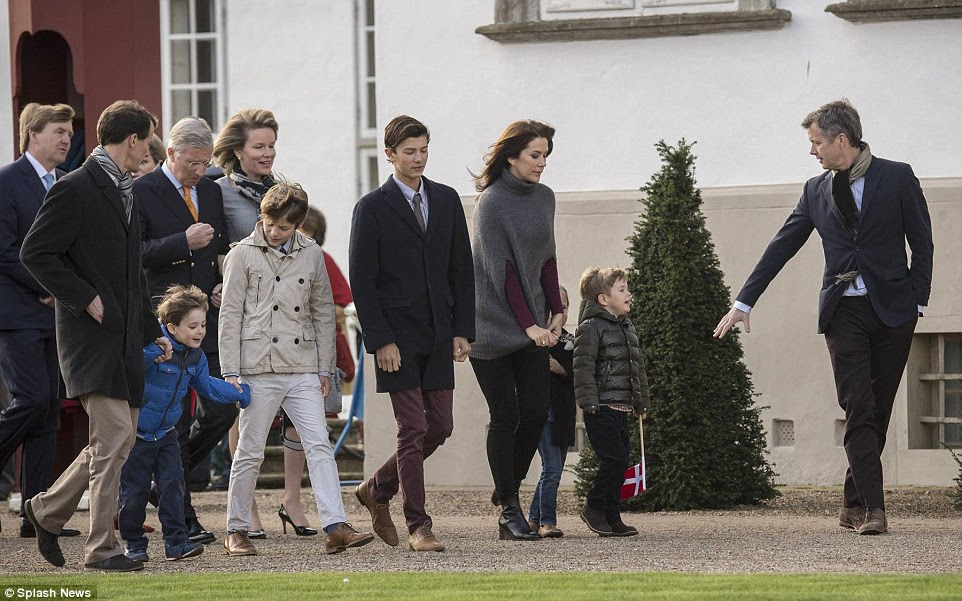 Getting involved: They were joined by the Belgian and Dutch heads of state