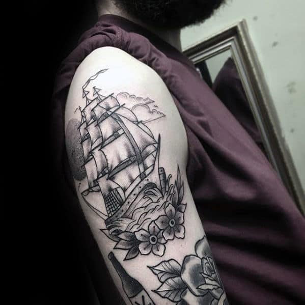 50 Traditional Flower Tattoo Designs For Men Old School Floral