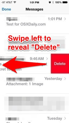 Delete an entire message from iOS 7